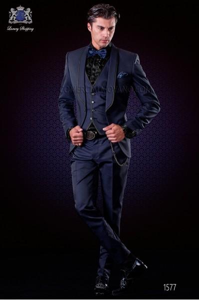 Traje esmoquin moderno micro diseño negro-azul royal. Solapa chal con vivos y 1 botón.