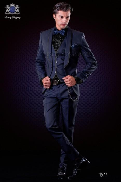 Italian fashion tuxedo black-royal blue polka dots micro design. Shawl collar with satin trims and 1 button.