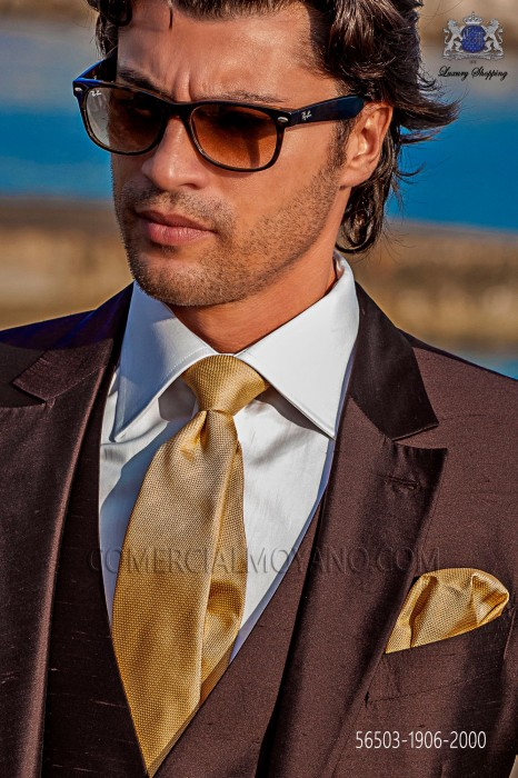 Golden silk tie and handkerchief