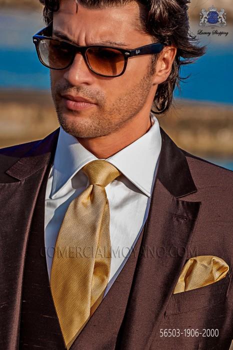 Golden silk tie and handkerchief
