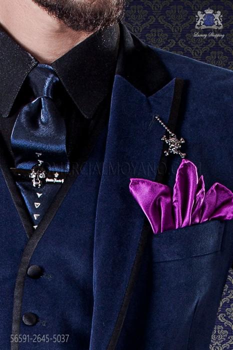 Blue tie with metal fixtures & purple handkerchief
