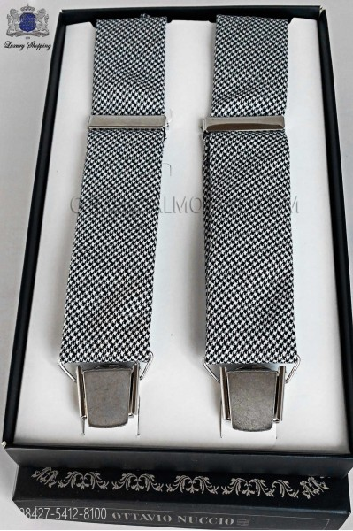 Gray houndstooth suspenders with four clamps