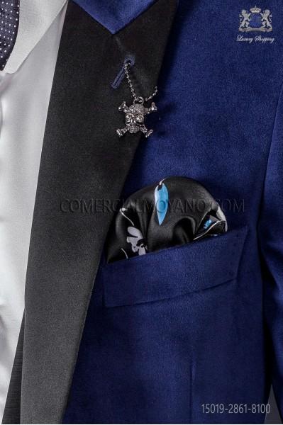 Black & blue stamped silk handkerchief