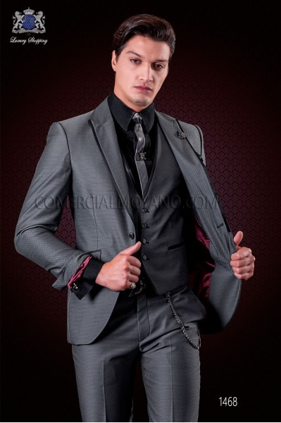 Italian grey wedding suit with waistcoat. Peak lapels with satin contrast and 1 button. Wool mix micro design fabric.