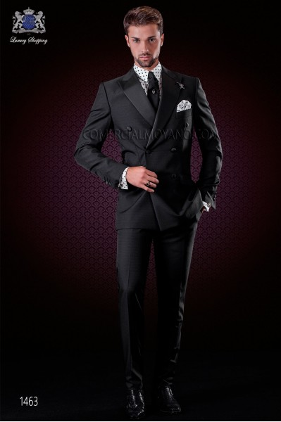 Italian black fashion double breasted suit with satin peak lapels and 6 buttons. Wool mix fabric.