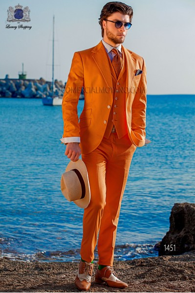 "Modern Italian style costume ""Slim"". Model flaps in ""V"" and 2 buttons. Orange fabric 100% cotton"