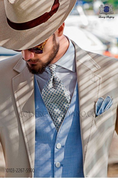Ivory silk tie with micro-designs