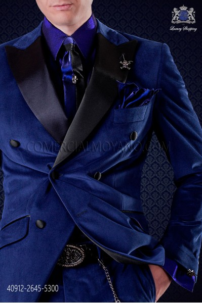 Electric Blue lurex shirt with fashion small collar