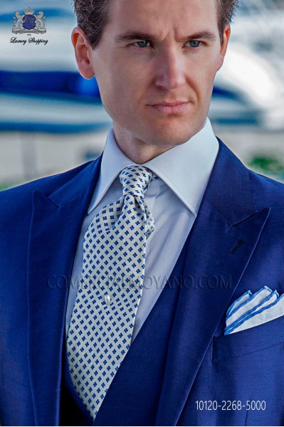 White and blue pure silk tie