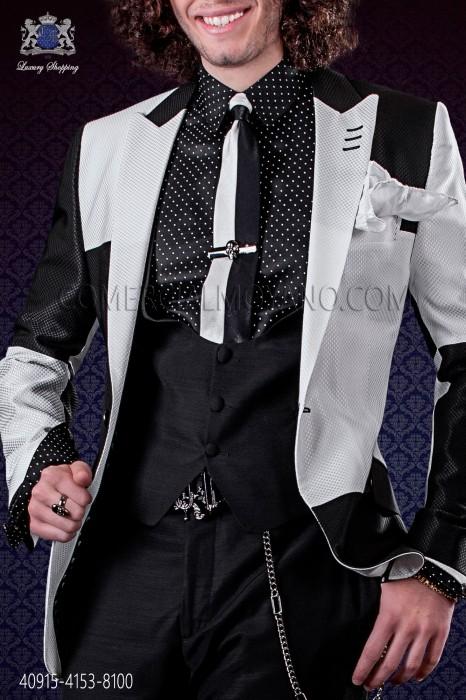 Black satin shirt with white polka dots