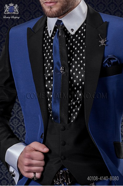 Black cotton shirt with skulls 40108-4140-8080 Ottavio Nuccio Gala