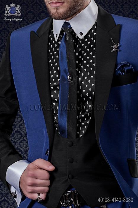 Black cotton shirt with skulls 40108-4140-8080 Ottavio Nuccio Gala