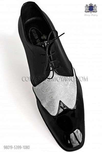 Bicolor white jacquard with black leather laced shoes