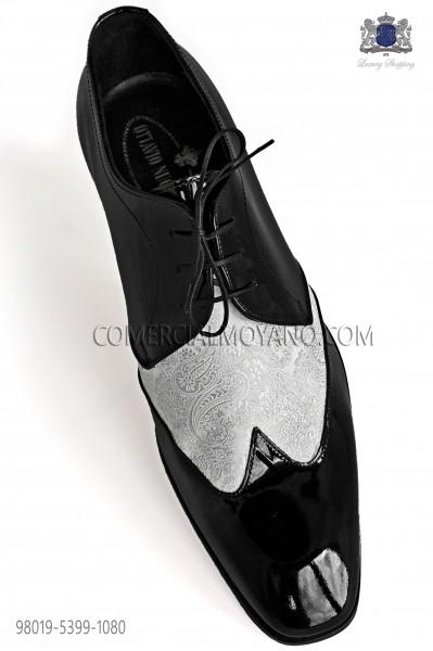 Zapatos negros cordones combinado jacquard blanco