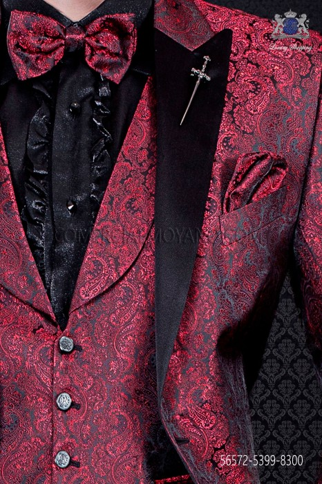 Red bow tie in jacquard Kashmiris on black background with matching handkerchief