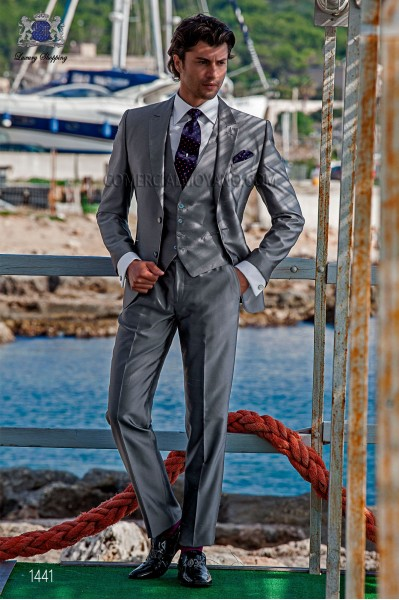 "Piece suit modern ""Slim"". American with flaps in ""V"" and 2 buttons. shantung silk fabric gray"