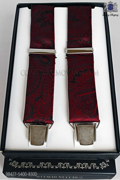 Jacquard red over black background suspenders