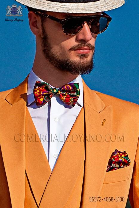 Fantasy pure silk bow tie and pocket handkerchief