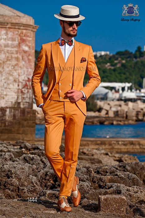 "Modern stylish dress ""Slim"". Model edge flaps and 1 button. Orange fabric 100% cotton"