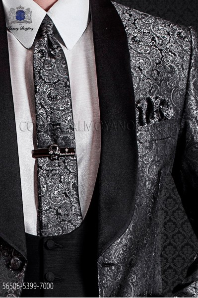 Corbata de novio y pañuelo en diseño jacquard gris