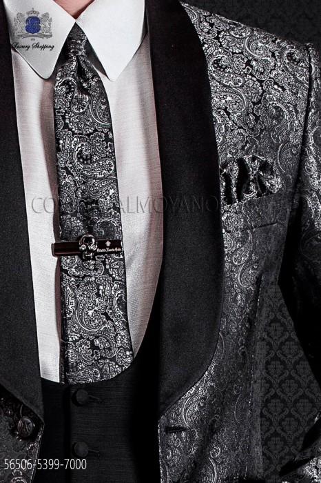 Jacquard gray groom narrow tie with handkerchief