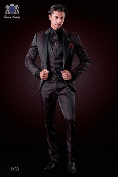 Italian fashion suit black-red polka dots micro design. Satin peak lapel and 1 button. Wool mix fabric.