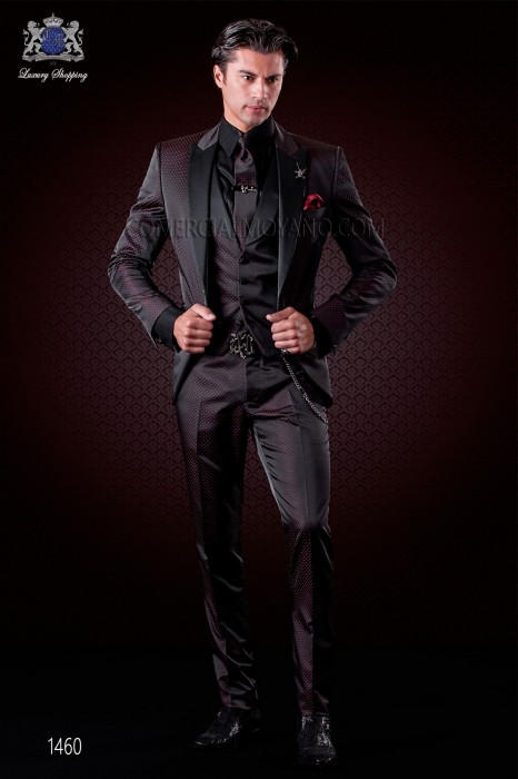 Italian fashion suit black-red polka dots micro design. Satin peak lapel and 1 button. Wool mix fabric.