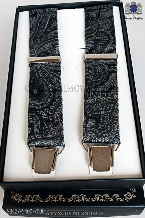 Jacquard gray over black background suspenders