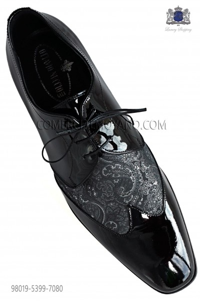 Zapatos negros cordones combinado jacquard gris