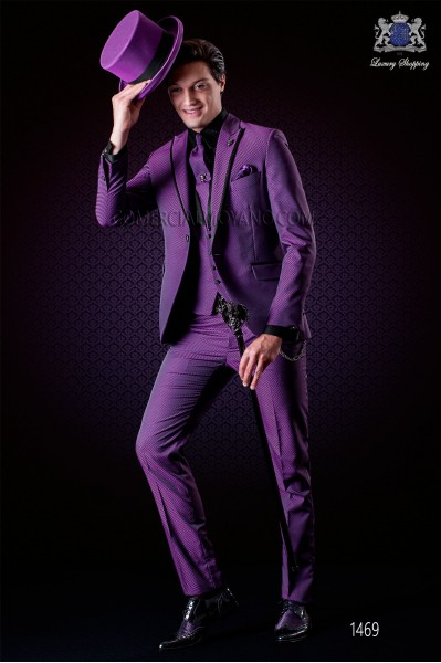 Italian purple fashion wedding suit. Peak lapels with satin trims and 1 button. Wool mix fabric.