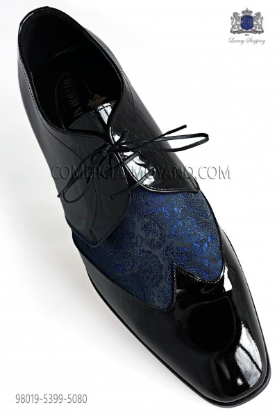 Bicolor Blue jacquard with black leather laced shoes