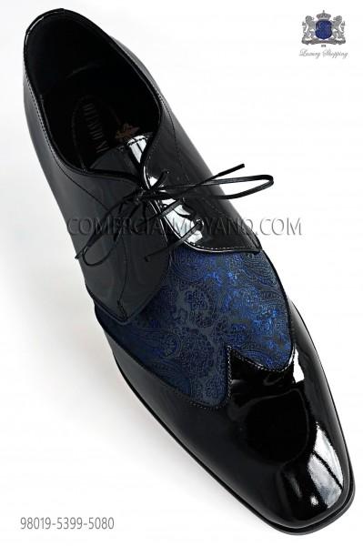 Zapatos negros cordones combinado jacquard azul
