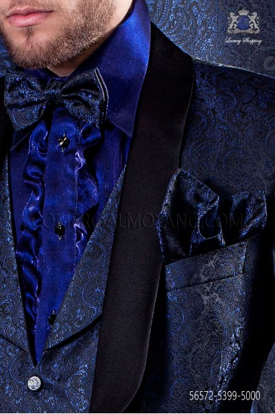 Blue bow tie in jacquard Kashmiris on black background with matching handkerchief