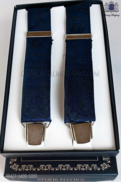 Jacquard blue over black background suspenders