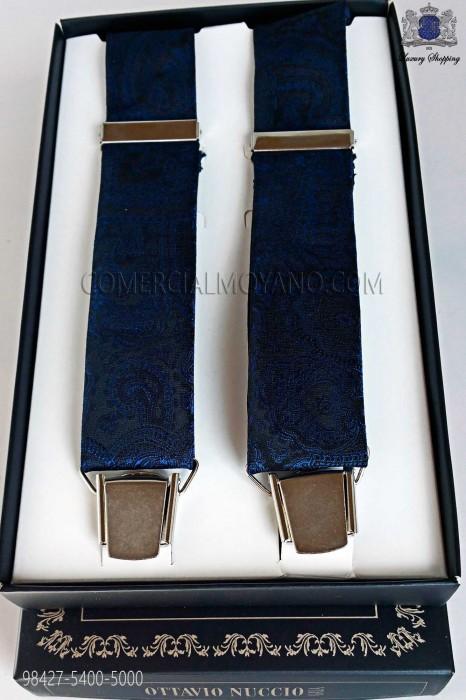 Jacquard blue over black background suspenders