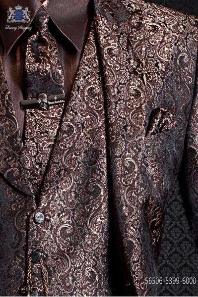 Corbata de novio y pañuelo en diseño jacquard dorado
