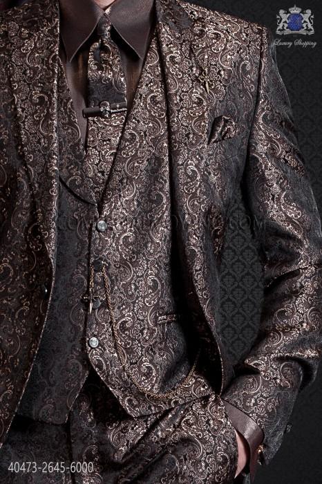 Brown lurex groom shirt, Italian collar and fashion asymmetric cuffs