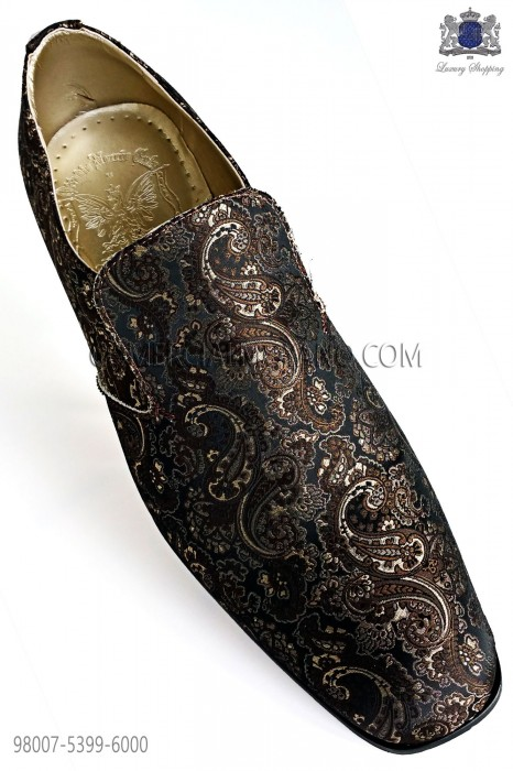 Gold and black jacquard slipper shoes
