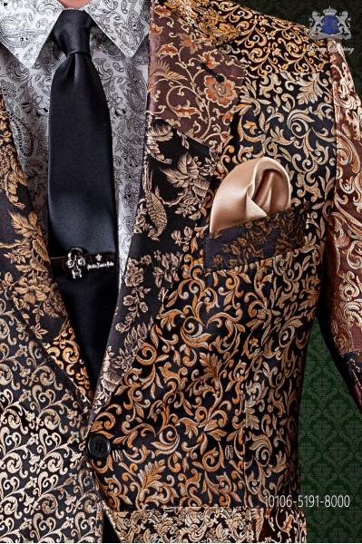 Black satin narrow groom tie