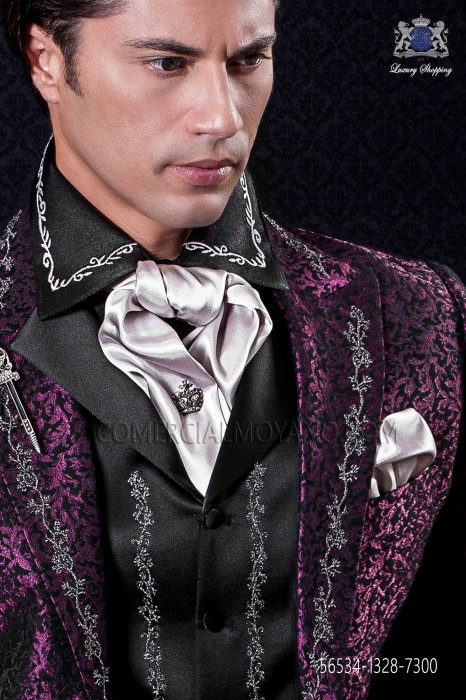 Pearl gray satin foulard and pocket handkerchief