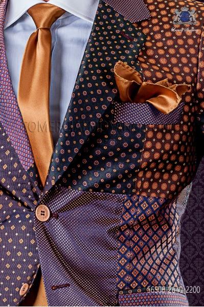Narrow golden satin tie with matching handkerchief