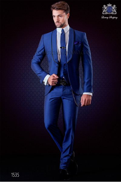Italian fashion tuxedo electric blue polka dots microdesign. Shawl collar with satin trims and 1 button. Wool mix fabric.
