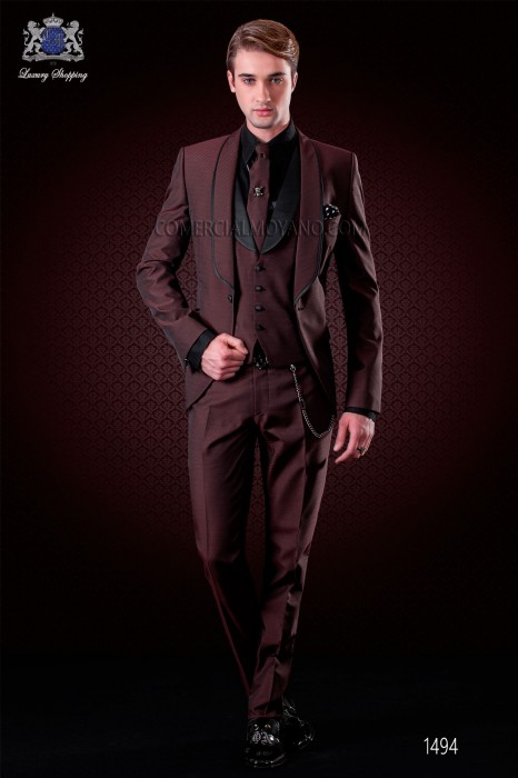 Italian burgundy fashion tuxedo suit. Shawl lapels with satin trims and 1 button. Wool mix fabric.