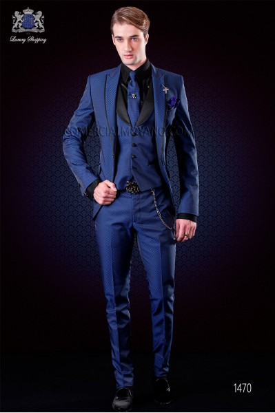 Italian electric blue fashion suit. Peak lapels with satin trims and 1 button. Wool mix fabric.