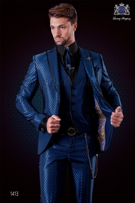 Italian blue monochrome design fashion suit. Peak lapels with satin trims and 1 button. Wool mix fabric.