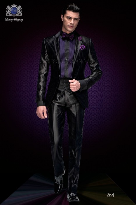 Italian fashion black purple pinstripes wedding suit. Peak lapel with bias binding and 1 button.