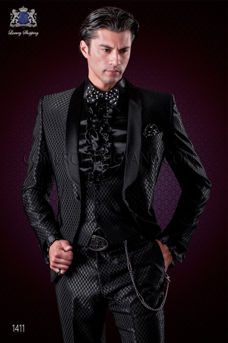 Italian tuxedo black monochrome design fashion suit. Shawl satin collar and 1 button. Wool mix fabric.