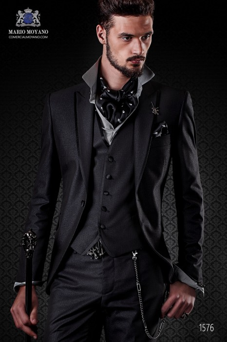 Italian black shiny fashion suit. Peak lapels with satin trims and 1 button.