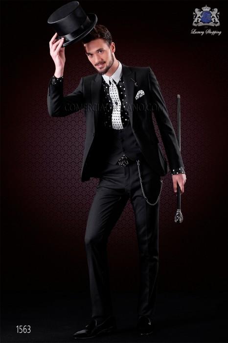 Italian black fashion wedding suit. Peak lapels and 1 button. Wool mix fabric.