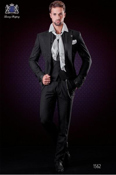 Italian black pinstripes wedding suit. Peak lapels and 1 button. Wool fabric.